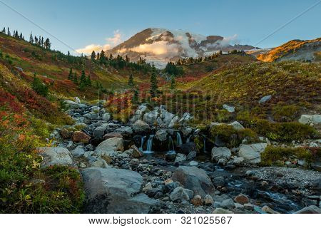 Long Exposure Of Edith Creek Below Mount Rainier