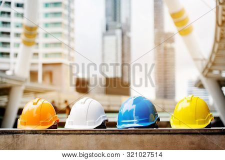 Quality Contractor Teamwork. Safety Construction For Engineer Or Building Work Site Or Plant. Wearin