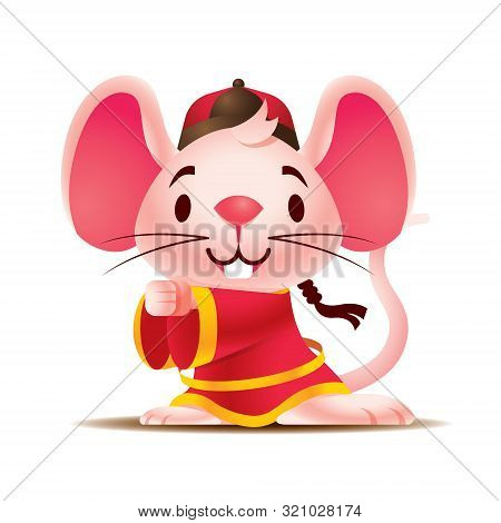 Cartoon Cute White Rat With Big Ears Wears Traditional Chinese Jacket Greeting Gong Xi Fa Cai. Rat C