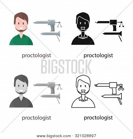 Isolated Object Of Proctologist And Diagnosis Sign. Collection Of Proctologist And Practitioner Stoc
