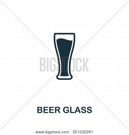 Beer Glass Vector Icon Symbol. Creative Sign From Oktoberfest Icons Collection. Filled Flat Beer Gla