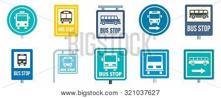 Bus Stop Icon Set. Flat Set Of Bus Stop Vector Icons For Web Design