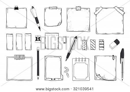 Doodle Notes. Diary Notebook And Paper Sheets With Pin Pen Pencil And Stationery, Hand Drawn Sticky
