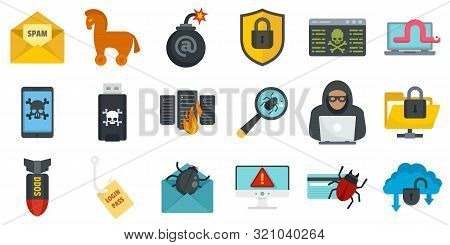 Cyber Attack Icons Set. Flat Set Of Cyber Attack Vector Icons For Web Design
