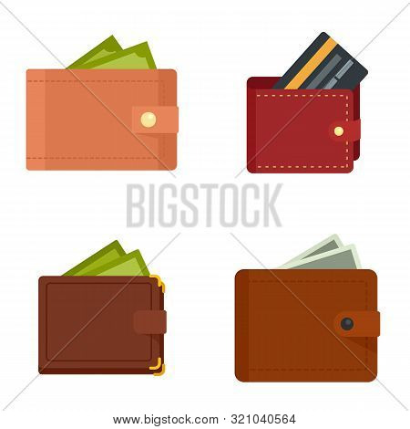 Wallet Icons Set. Flat Set Of Wallet Vector Icons For Web Design