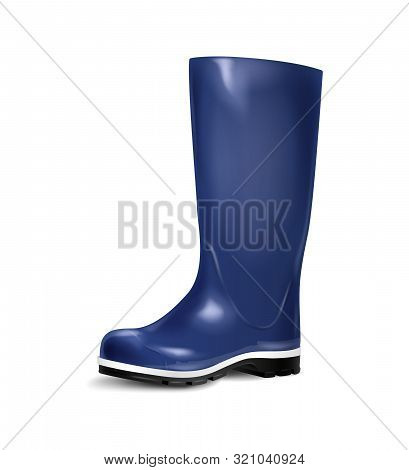 Blue Rubber Boots Isolated On A White Background. Rain Boots, Autumn Shoes. Vector Illustration.