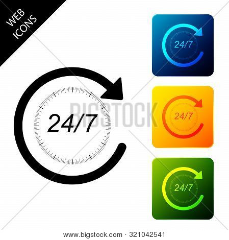 Open 24 Hours A Day And 7 Days A Week Icon Isolated. All Day Cyclic Icon. Set Icons Colorful Square
