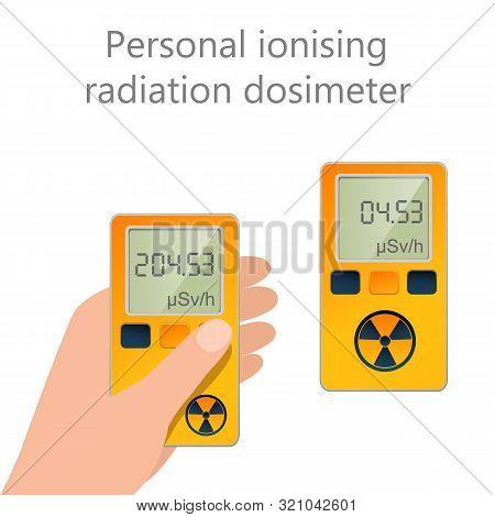 Flat Vector Of Personal Ionising Radiation Dosimeter