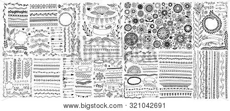 Big Set Of Doodle Sketch Flower Design Elements, Floral Drawing