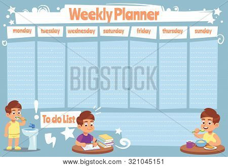 Kid Weekly Planner. Children Cute Calendar Weeks Design For To Do List Notes Of School Schedule Vect