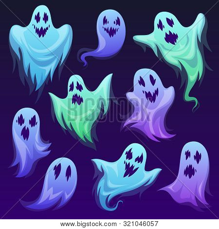 Ghost Character. Halloween Scary Ghostly Monster, Spooks. Cute Funny Friendly Ghoul, Horror Phantoms
