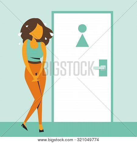 Woman Standing At The Closed Toilet Door And Want To Pee Vector Isolated. Person With A Full Bladder