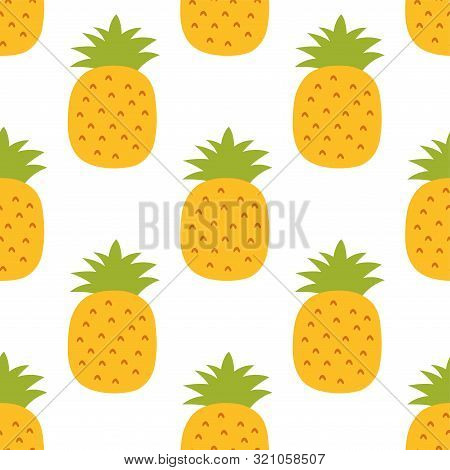 Pineapple Seamless Pattern. Hand Drawn Fresh Ananas. Vector Sketch Background. Color Print. Exotic T