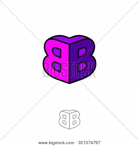 Bb Logo. Two Letters Are Connected As The Volume Figure. Double B Letters. Pink Emblem Like 3d. Mono