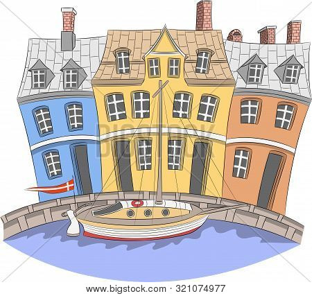 Vector Illustration. View Of The Colorful Facades Medieval Colorful Houses On The Nyhavn Canal. Cope