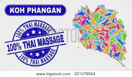 Industrial Koh Phangan Map And Blue 100 Percents Thai Massage Textured Seal Stamp. Colored Vector Ko