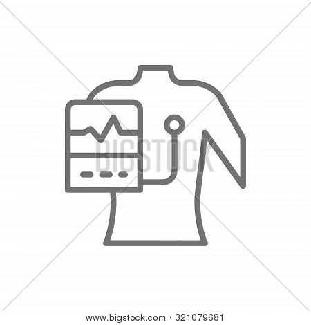 People With A Cardiogram, Heart Pacemaker Line Icon.