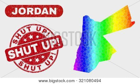 Spectrum Dot Jordan Map And Rubber Prints. Red Round Shut Up Exclamation Grunge Seal. Gradiented Spe