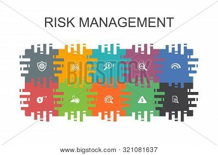 Risk Management Cartoon Template With Flat Elements. Contains Such Icons As Control, Identify, Level