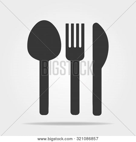 Fork, Knife, Tablespoon Sign Icon. Cutlery Collection Set Symbol. Classic Flat Icon. Colored Circles