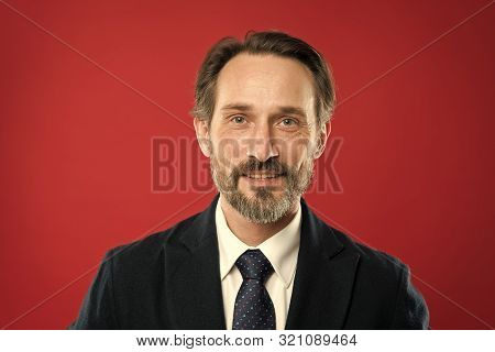 Business People Hairstyle. Stylish And Modern Appearance Of Mature Guy. Well Groomed Bearded Hipster