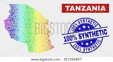 Industrial Tanzania Map And Blue 100 Percent Synthetic Grunge Seal Stamp. Rainbow Colored Gradiented