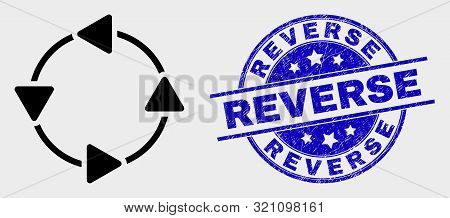 Vector Ccw Circulation Arrows Icon And Reverse Seal Stamp. Red Round Scratched Seal Stamp With Rever