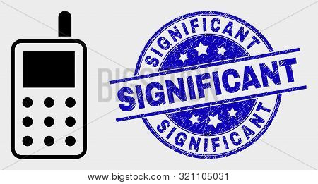 Vector Radio Transmitter Icon And Significant Stamp. Red Rounded Distress Seal Stamp With Significan