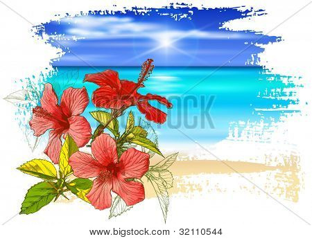 Hibiscus flowers, azure ocean, blue sky with white fluffy clouds, white sand deserted tropical beach. Bitmap copy my vector