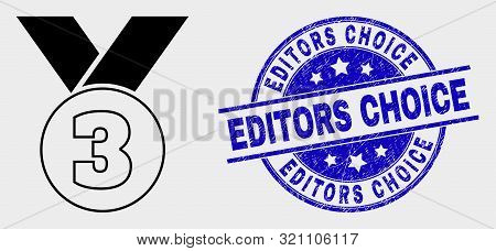 Vector Third Medal Pictogram And Editors Choice Seal Stamp. Red Round Distress Seal Stamp With Edito