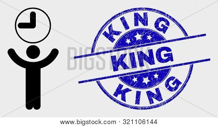 Vector Time Manager Pictogram And King Seal Stamp. Red Rounded Scratched Seal Stamp With King Captio