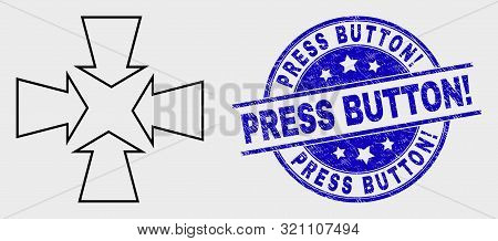 Vector Contour Shrink Arrows Pictogram And Press Button Exclamation Stamp. Blue Round Scratched Seal