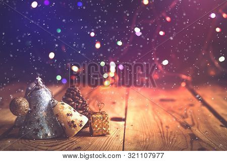 Christmas Decor With Bright Bokeh Lights. Magic Winter At Christmas Time