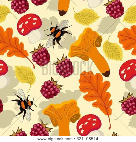Seamless Autumn Pattern With Mushrooms, Berries, Leaves Bumblebees