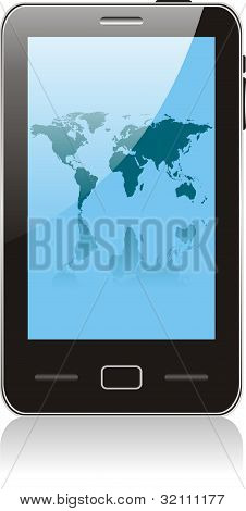 Touch Smartphone  With World Map Wallpaper. No Transparency Effects. Eps8 Only