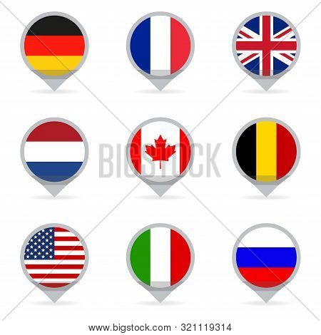 Flags Set In Shape Of Map Pointers Or Markers.  Flags Of The Different Countries Of The World: Usa,