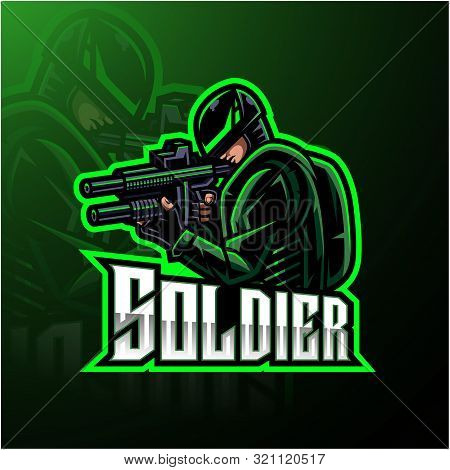 Soldier mascot esport gaming logo with text poster