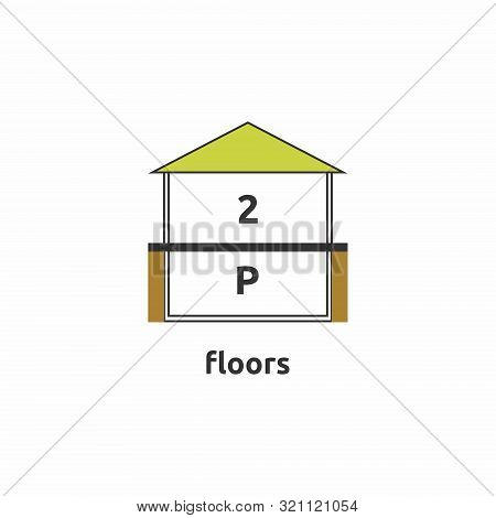Icon Denoting The Number Of Floors In The House. Minimalistic Icon With A Minimum Number Of Colors A
