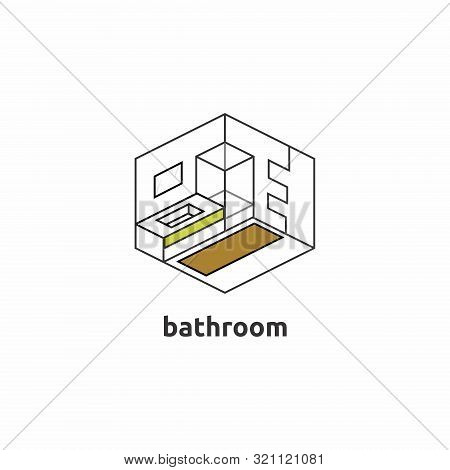Icon Bath In Isometric View. Minimalistic Icon With A Minimum Number Of Colors And Lines