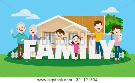 Big Happy Family On The Background Of The House. Parents And Children, Grandparents Together. Buying