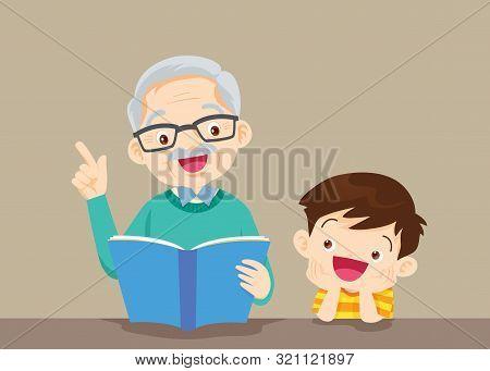 Grandparents With Grandchildren Reading,the Grandfather Reading Book For The Grandchildren On The Ta