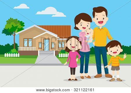 Happy Family In The Background Of His Home. Father, Mother, Son And Daughter Together Outdoors.famil