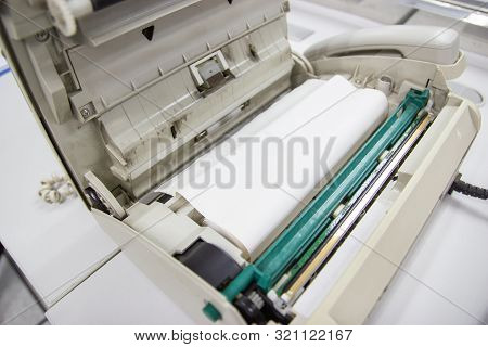 Fax Machine Open With Fax Paper Put To The Fax Machine
