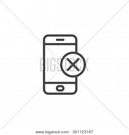 Mobile Phone With Cross Button Line Icon. Linear Style Sign For Mobile Concept And Web Design. Inval