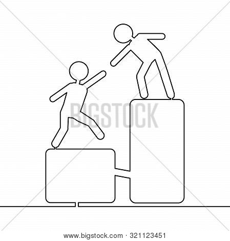 Continuous One Single Line Drawing Help Alliance Icon Vector Illustration Concept