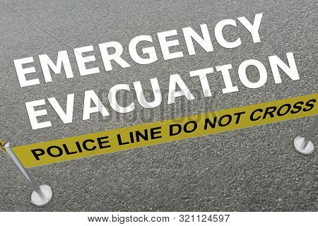 3d Illustration Of Emergency Evacuation Title On The Ground In A Police Arena
