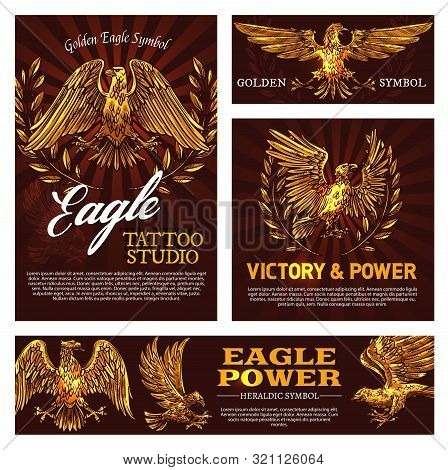 Golden Eagle Symbol Of Victory And Power Heraldry Sign. Vector Tattoo Studio Emblem With Mascot Bird