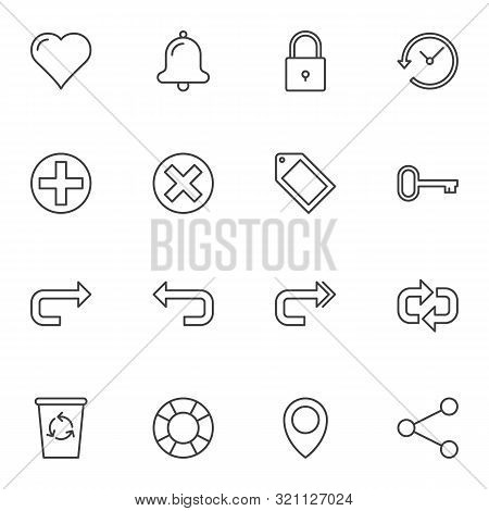 Universal Basic Line Icons Set. Linear Style Symbols Collection, Outline Signs Pack. Vector Graphics