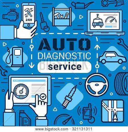 Car Diagnostic Service, Line Art Vector. Car Repair, Mechanic Maintenance. Navigation And Petrol Sta