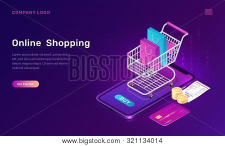 Online Shopping, Isometric Concept Vector Illustration. Smartphone Screen With Buy Button, Shopping